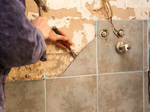 removing tile from bathroom wall