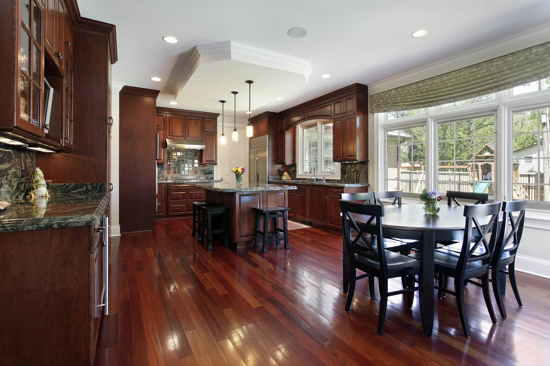 beautiful kitchen with dark wood floors