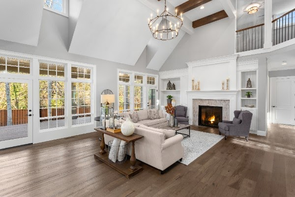 matte finish hardwood floors in beautiful living room
