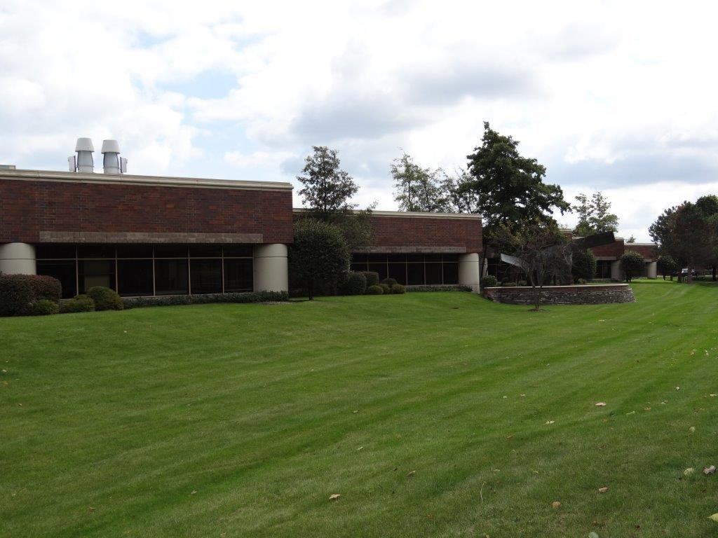 office building behind grassy field