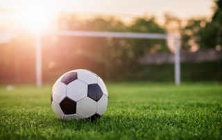 soccer ball sitting in a grassy field in front of a goal post at sunset