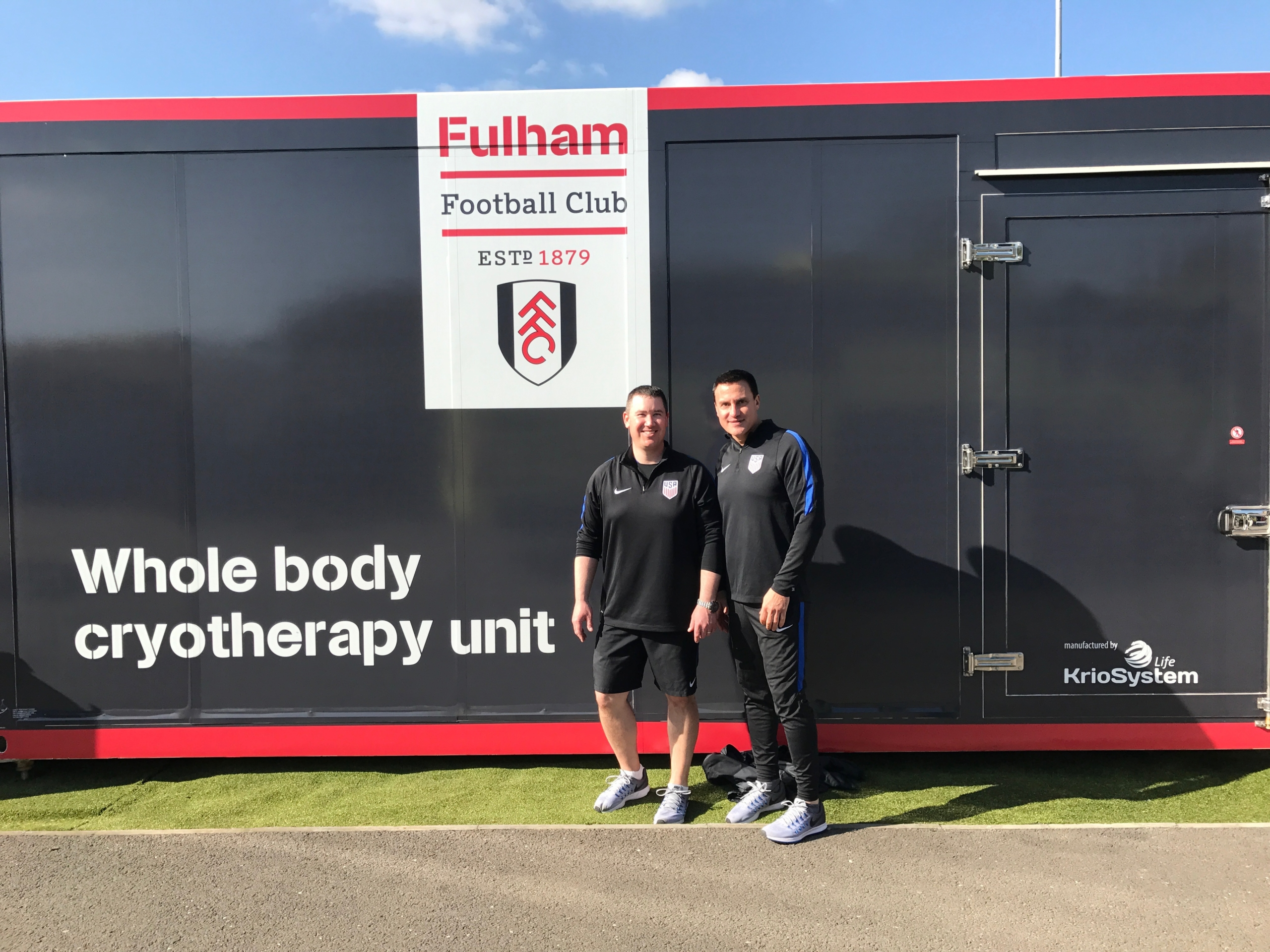 Dr Chams and Paul Ziemba ATC travel with US Soccer to England