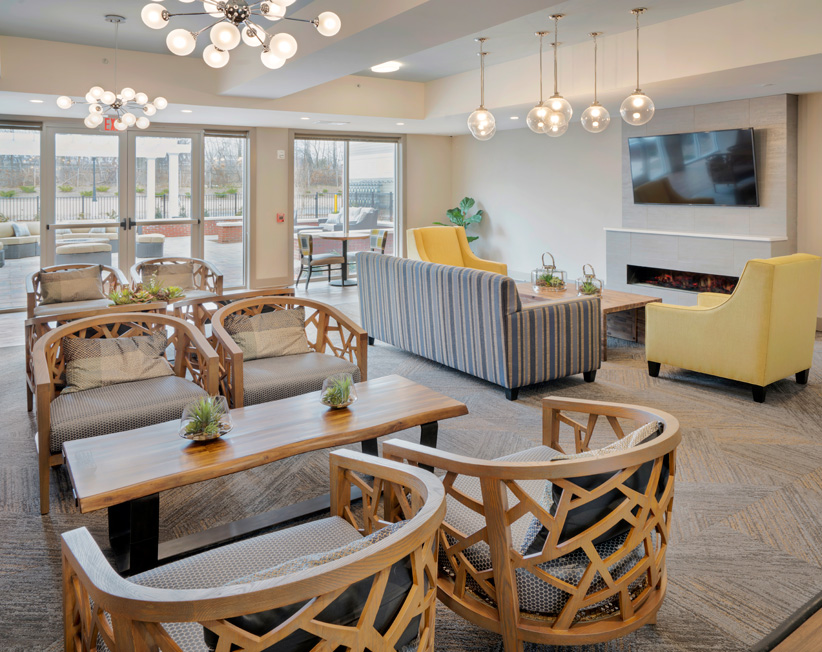interior of lounge area and clubhouse at summit court apartments in union nj
