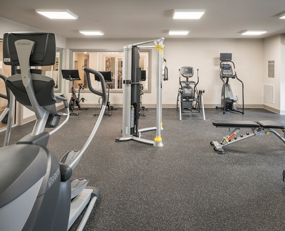 Apartment fitness center with exercise machines