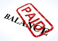 clip art of balance with PAID Stamp over it