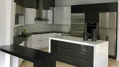two tone black and white kitchen