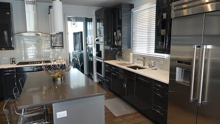 dark cabinets with gray kitchen island