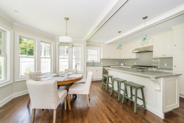 Modern White Kitchen with Blue Ascents