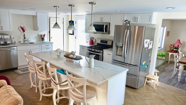 White modern kitchen with with accessories for a toddler