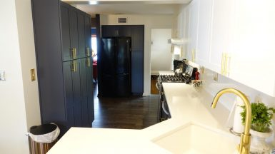 brand new 2 tone kitchen with blue and white cabinets