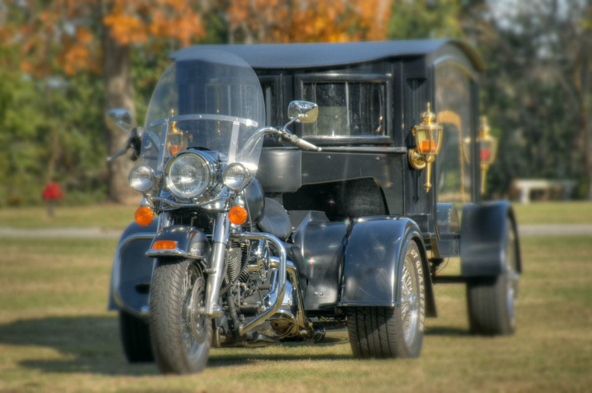 motorcycle and hearse