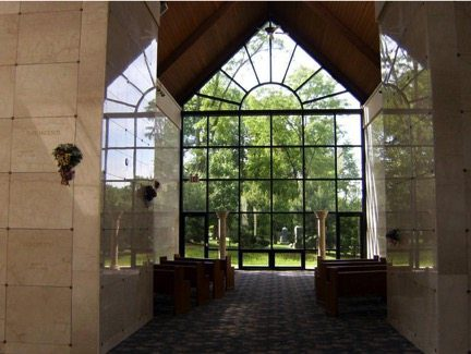 large windows in a mausoleum