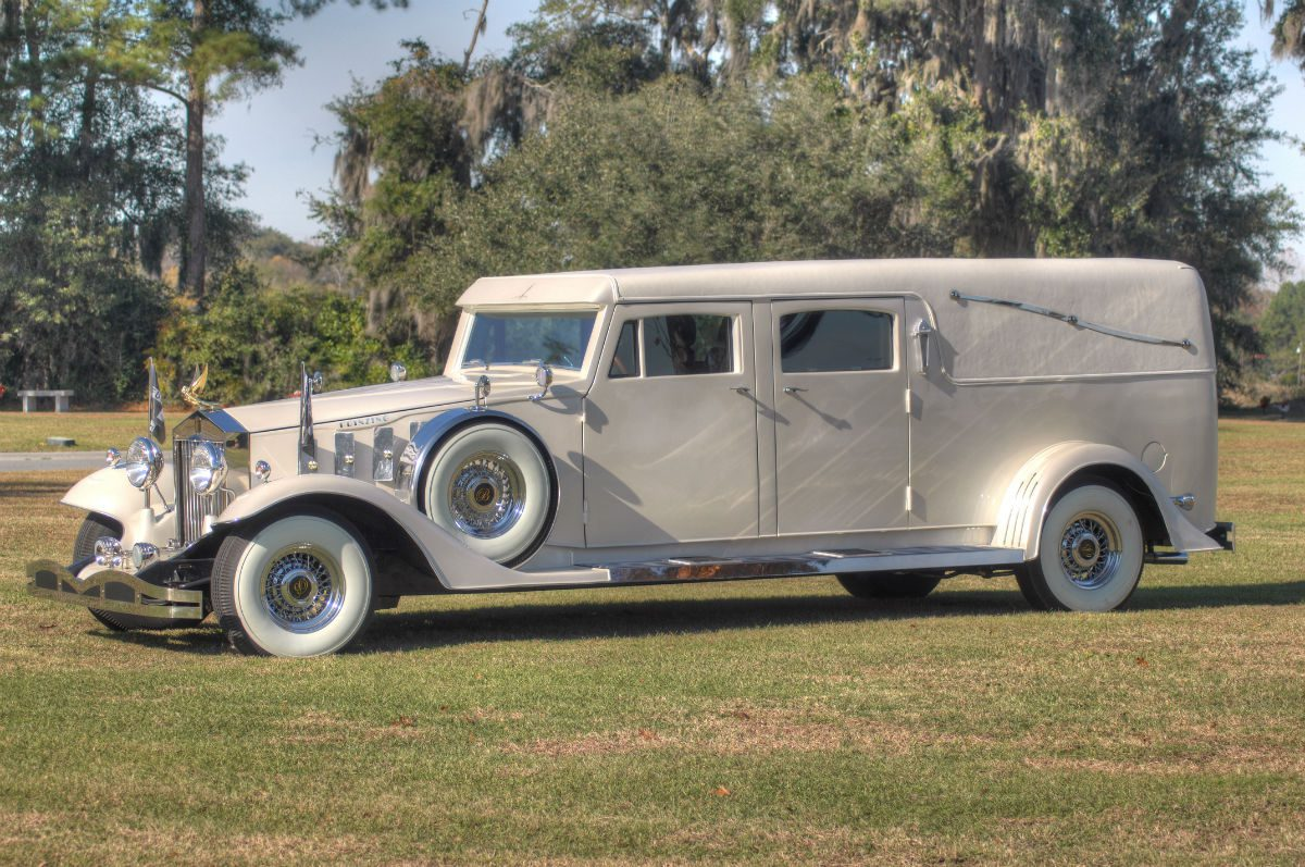 rolls royce hearse in white