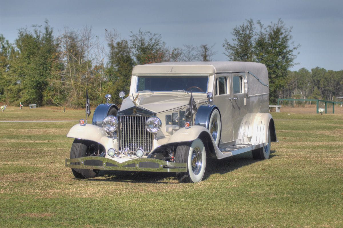 white rolls royce hearse