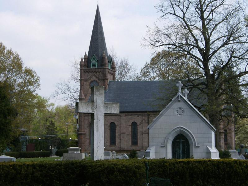 cemetery and church in the background