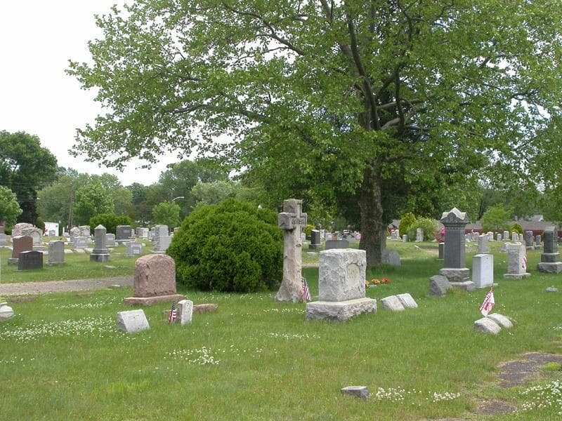 headstones in a grave yard