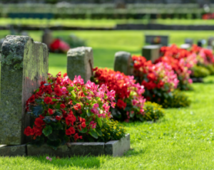 Headstones at cemetery with flowers